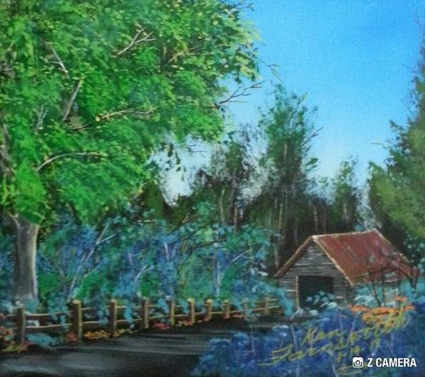 Landscape Art Print featuring the painting Old Barn by Ken Farnsworth