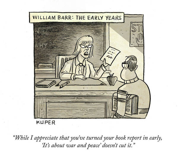 While I Appreciate That You've Turned You Book Report In Early Art Print featuring the drawing William Barr The Early Years by Peter Kuper
