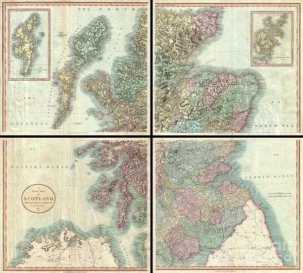 A Very Attractive Example Of John Cary's Stupendous Four Sheet 1801 Map Of Scotland. Covers The Entirety Of Scotland As Well As Parts Of Neighboring England And Ireland. Inset Maps Detail The Orkney Islands And The Shetland Islands. Offers Extraordinary Detail On The Whole Of Scotland With Special Attention To Topography Art Print featuring the photograph 1801 Cary Map Of Scotland by Paul Fearn