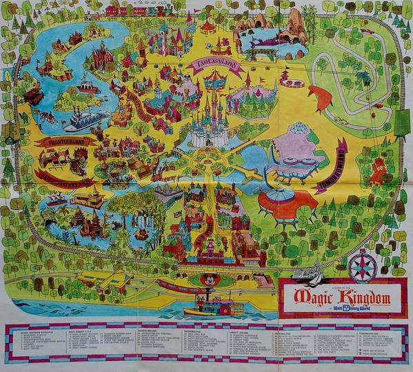 image regarding Printable Magic Kingdom Map titled 1971 Initial Map Of The Magic Kingdom Artwork Print