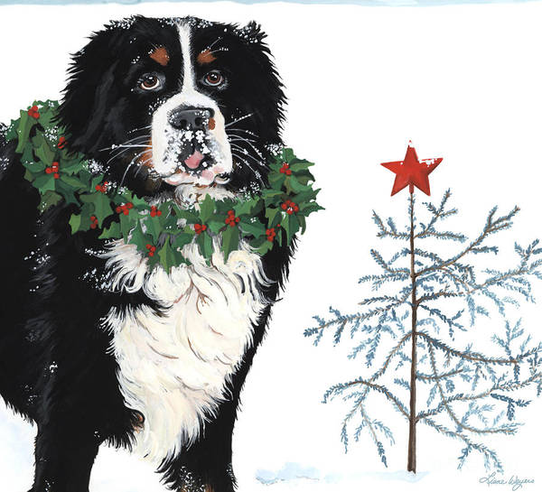 Merry Christmas Bernese Mountain Dog Sticking Out His Tonge Charley Brown Christmas Tree. Bah Humbug Who Cares Snow Wreath Star Liane Weyers Artist Painting Holly Tree Art Print featuring the painting Bah Humb Merry Christmas by Liane Weyers