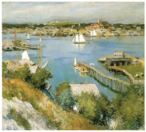 William Leroy Metcalf Print featuring the painting Gloucester Harbour by William Leroy Metcalf
