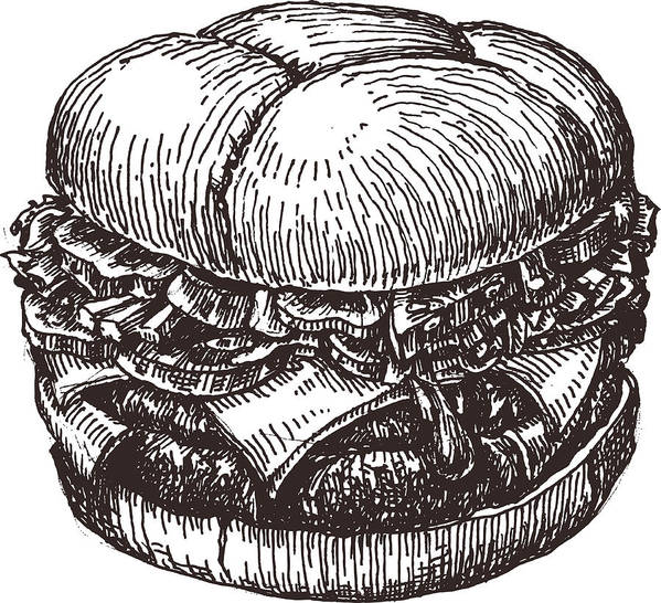 Hamburger Vector Logo Design Template Fast Food Or Restaurant Icon Art Print