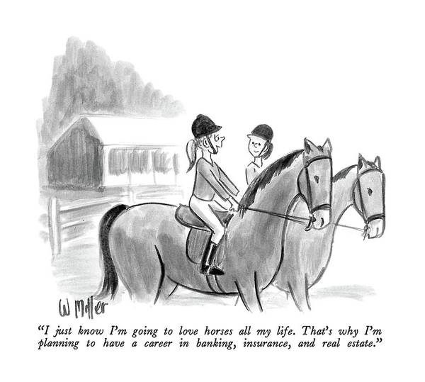Two Girls Talking Together On Horseback.  Modern Life Art Print featuring the drawing I Just Know I'm Going To Love Horses All My Life by Warren Miller
