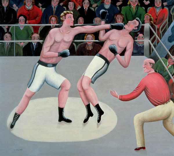 Referee; Boxing; Ring; Punch Art Print featuring the painting Knock Out by Jerzy Marek