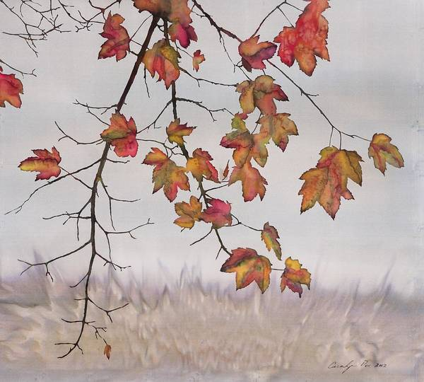 Maple Art Print featuring the tapestry - textile Maple In Gray Sky by Carolyn Doe