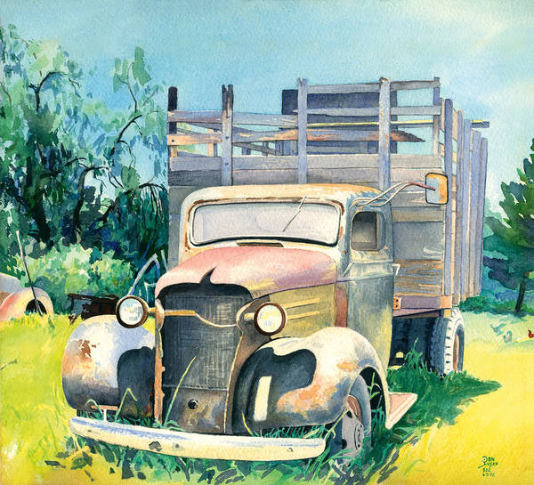 Water Color Art Print featuring the painting Old Kula Truck by Don Jusko
