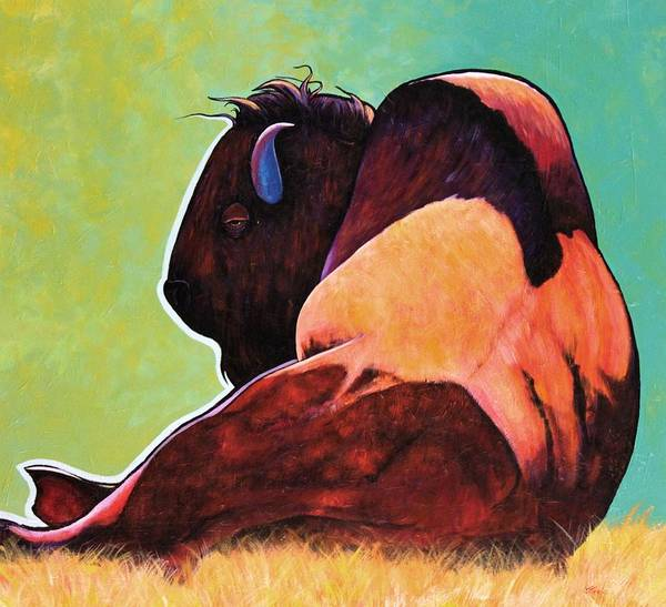 Wildlife Art Print featuring the painting On Empty Bison by Joe Triano