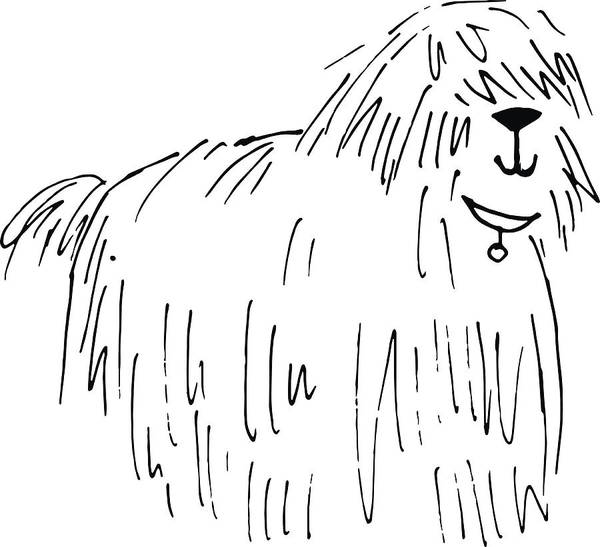 Shaggy Dog Vector Hand Drawn Illustration Art Print