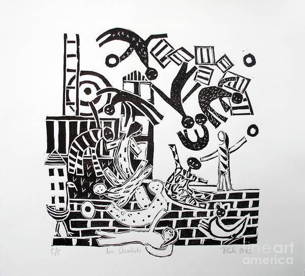 Lino Cut Art Print featuring the painting The Acrobats by Barbara Sala
