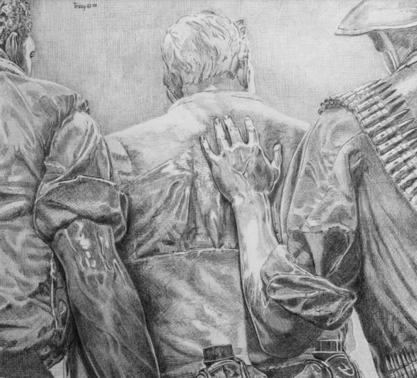 Three Soldiers Art Print featuring the drawing Three Soldiers by Robert Tracy