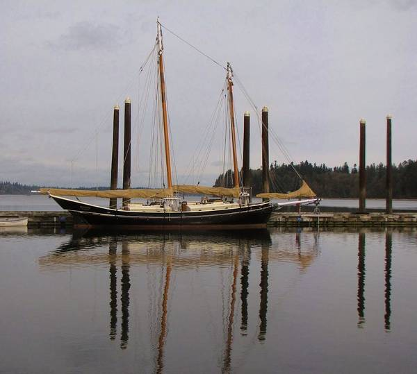 Boat; Boating; Water; Bay; Reflections; Reflection; Sailboats; Sailing; Boat Reflection; Bay; Washington; Seattle Print featuring the photograph Waiting To Sail by Feva Fotos