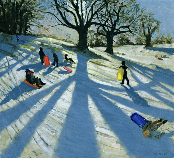 Sledging Art Print featuring the painting Winter Tree by Andrew Macara