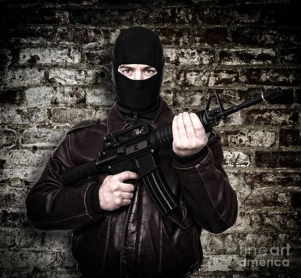 Terrorist Art Print featuring the photograph Terrorist Portrait by Gualtiero Boffi