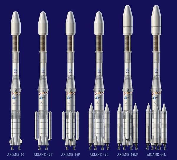 Ariane 4 Art Print featuring the photograph Ariane 4 Rocket Versions, Artwork by David Ducros