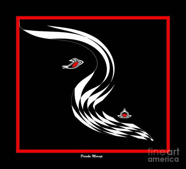 Black And White And Red Art Art Print featuring the digital art Minimalism Blac White Re Art No.94. by Drinka Mercep