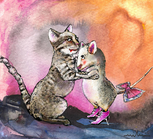 Animals Art Print featuring the painting Cat And Mouse Reunited by Miki De Goodaboom