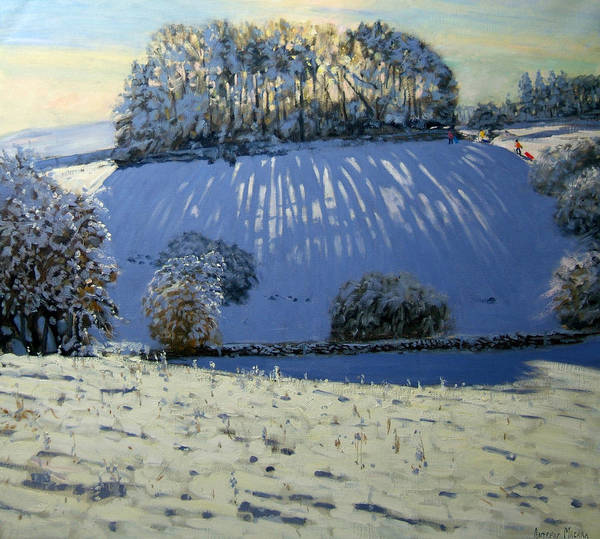 Sledging Art Print featuring the painting Field Of Shadows by Andrew Macara