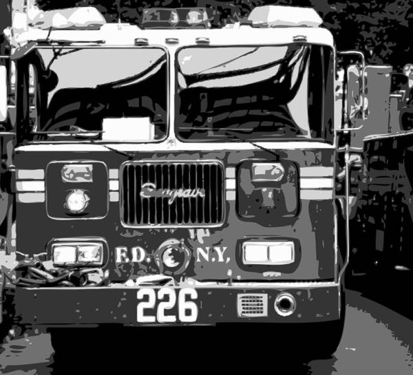 New-york-gallery-print New York City New-york New-york-photograph Art Print featuring the photograph Fire Truck Bw6 by Scott Kelley