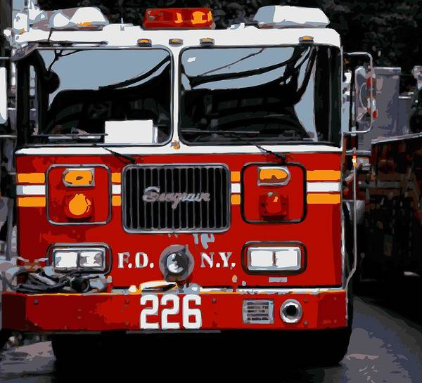 New-york-gallery-print New York City New-york New-york-photograph Art Print featuring the photograph Fire Truck Color 16 by Scott Kelley
