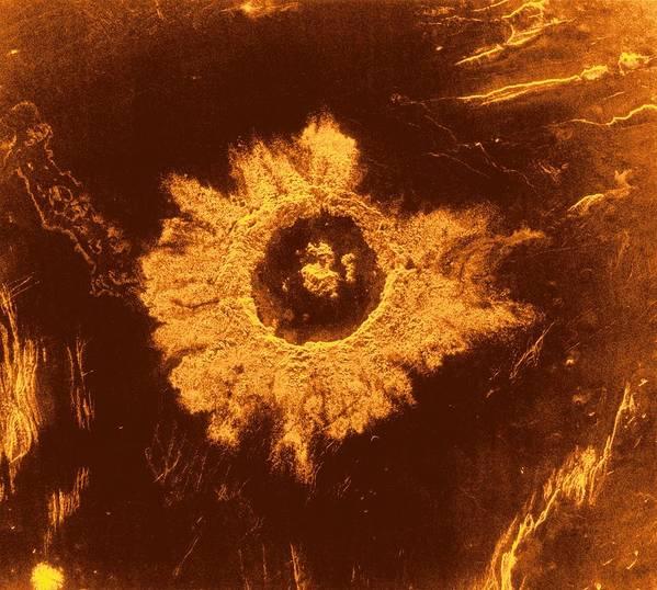 20th Century Art Print featuring the photograph Venus, Synthetic Aperture Radar Map by Detlev Van Ravenswaay
