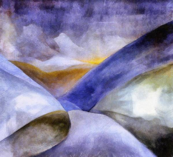 Blue Art Print featuring the painting Abstract Mountain Landscape by Michelle Calkins