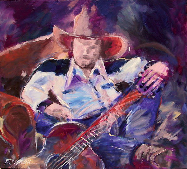 Figurative Art Print featuring the painting Big Hat Big Guitar by Ron Patterson
