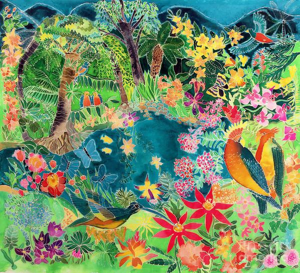 Parrot; Hummingbird; Butterfly; Macaw; Tropical; Rainforest Art Print featuring the painting Caribbean Jungle by Hilary Simon