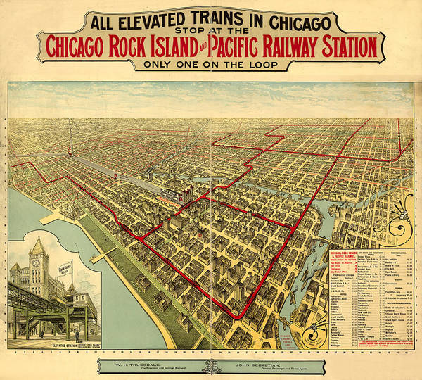 Panoramic Map Art Print featuring the digital art Chicago Rock Island And Pacific Railway Station by Donna Leach