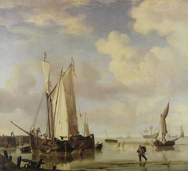Dutch Print featuring the painting Dutch Vessels Inshore And Men Bathing by Willem van de Velde
