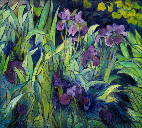 Irises Provence. Impressionism. Enver Larney. Fine Art. Landscapes Art Print featuring the painting Irises At High Altitude Auribeau France 2004  by Enver Larney
