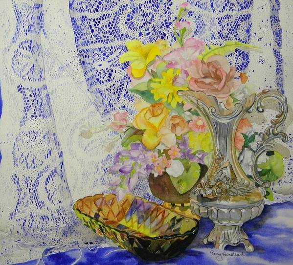 Still Life Art Print featuring the painting Lace And Flowers by Terry Honstead