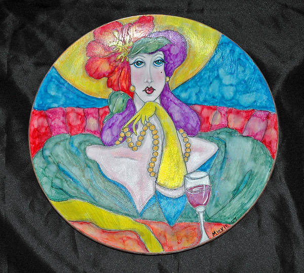 Brightly Painted Woman Waiting For Her Date Art Print featuring the mixed media Lady In Waiting by Mickie Boothroyd