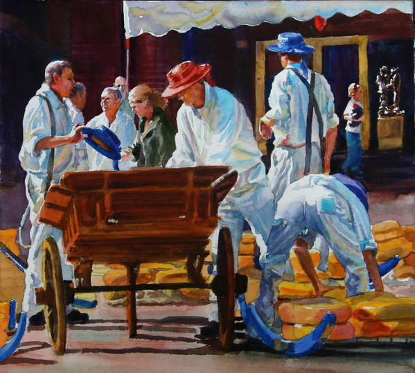 Figures Art Print featuring the painting Loading The Cart by Carolyn Epperly