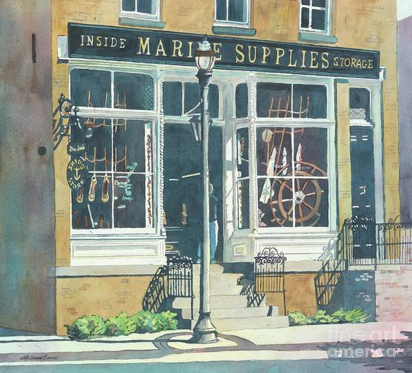 Storefronts Art Print featuring the painting Marine Supply Store by LeAnne Sowa