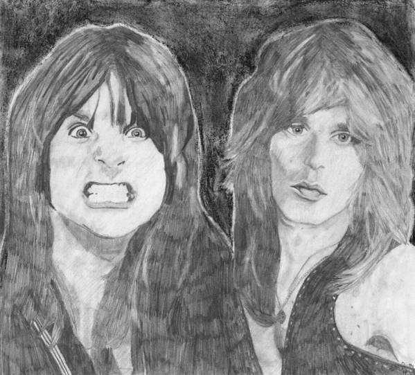 Ozzy Osbourne Art Print featuring the drawing Ozzy Osbourne And Randy Rhoads by Bari Titen
