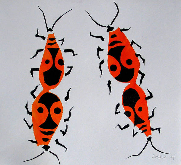 Bug Art Print featuring the painting Red Bugs by Vitali Komarov