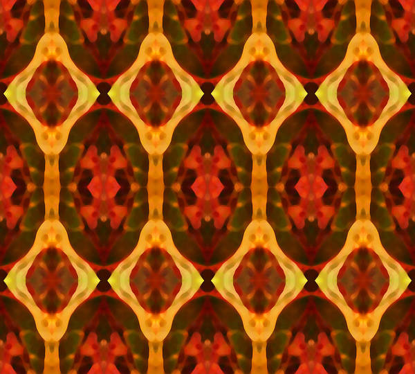 Abstract Print featuring the painting Ruby Glow Pattern by Amy Vangsgard