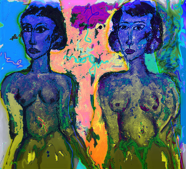 Nude Art Print featuring the painting Sisters by Noredin Morgan
