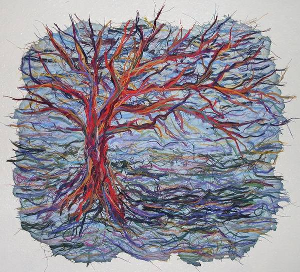 Tree Growth Textile Thread Paper Art Print featuring the painting String Tree - Growing By A Thread by Sally Van Driest