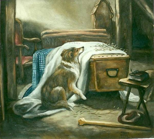 Pets Art Print featuring the painting The Old Shepherd's Chief Mourner After Sir Edwin Landseer by Douglas Manry