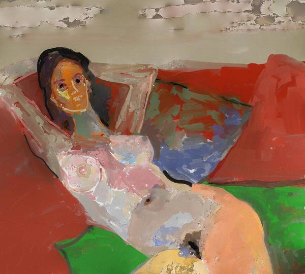 Art Art Print featuring the painting Valentina Model Nude In Relax by Carlos Camus