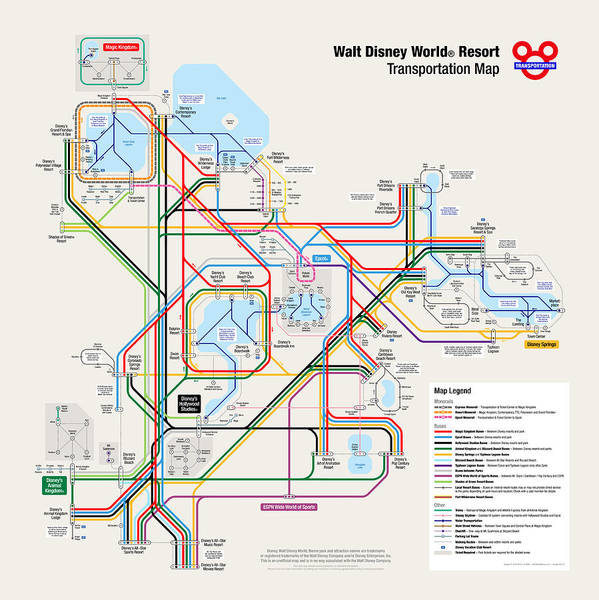 Walt Disney World Resort Transportation Map Art Print By
