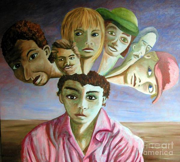 Identity (symbolic Art) Art Print featuring the painting Which Of My Sub Personalities Is The Real Me by Tanni Koens