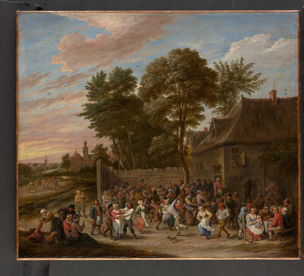 David Teniers The Younger Art Print featuring the painting Peasants Dancing And Feasting by David Teniers the Younger