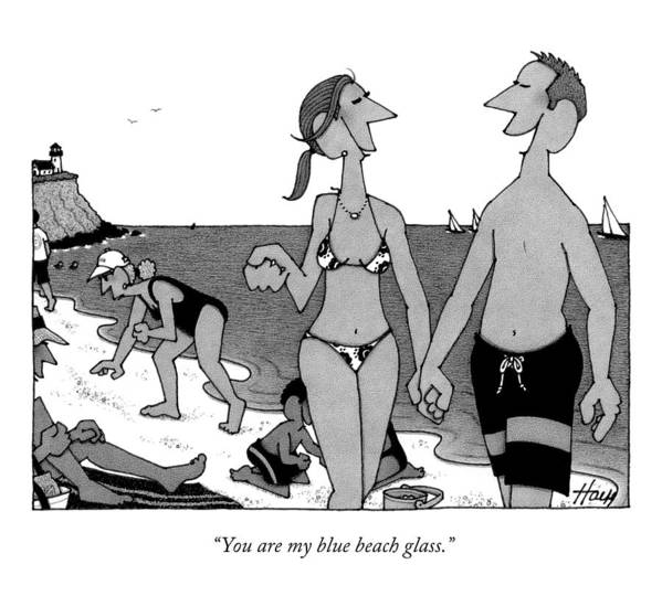 Beach Art Print featuring the drawing You Are My Blue Beach Glass by William Haefeli