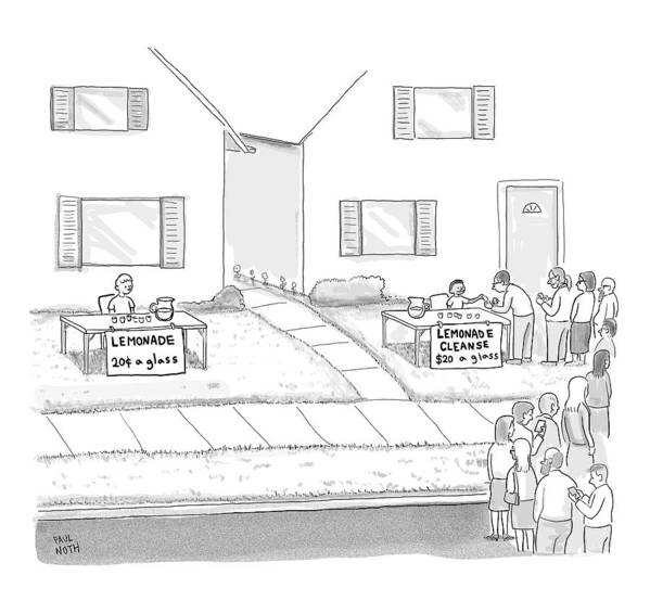 Lemonade Stand Art Print featuring the drawing A Suburban Lemonade Stand Attracts No Business by Paul Noth