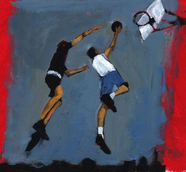 Jump Art Print featuring the photograph Basketball Players by Paul Powis