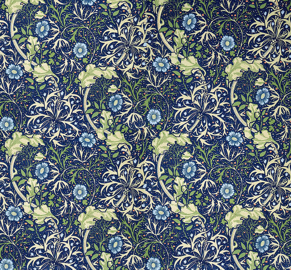 William Art Print featuring the tapestry - textile Blue Daisies Design by William Morris