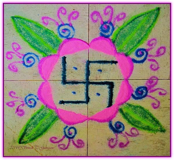 Happydhanteras Art Print featuring the pastel Happy Dhanteras by Sonali Gangane